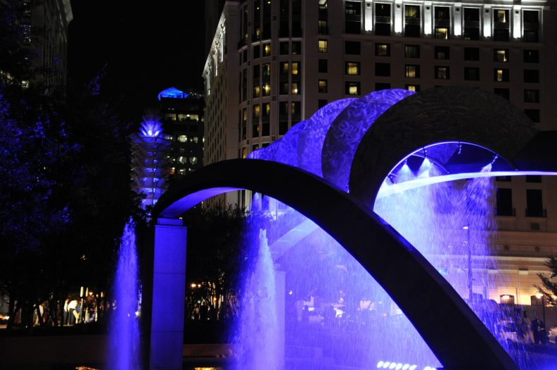 Orlando City Hall Fountain at Night