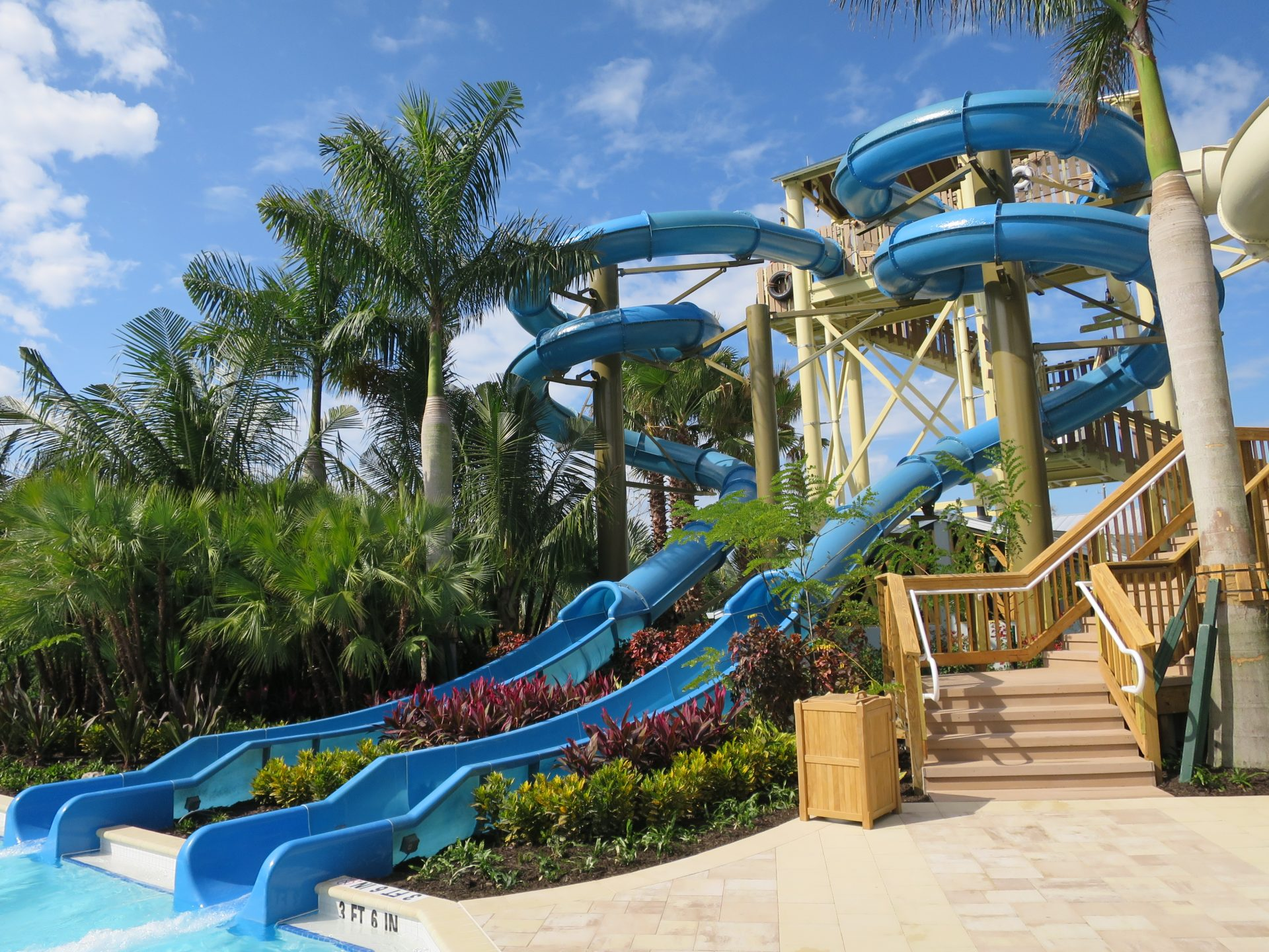 Hyatt Regency Coconut Point slide tower empties into lazy river designed by Martin Aquatic