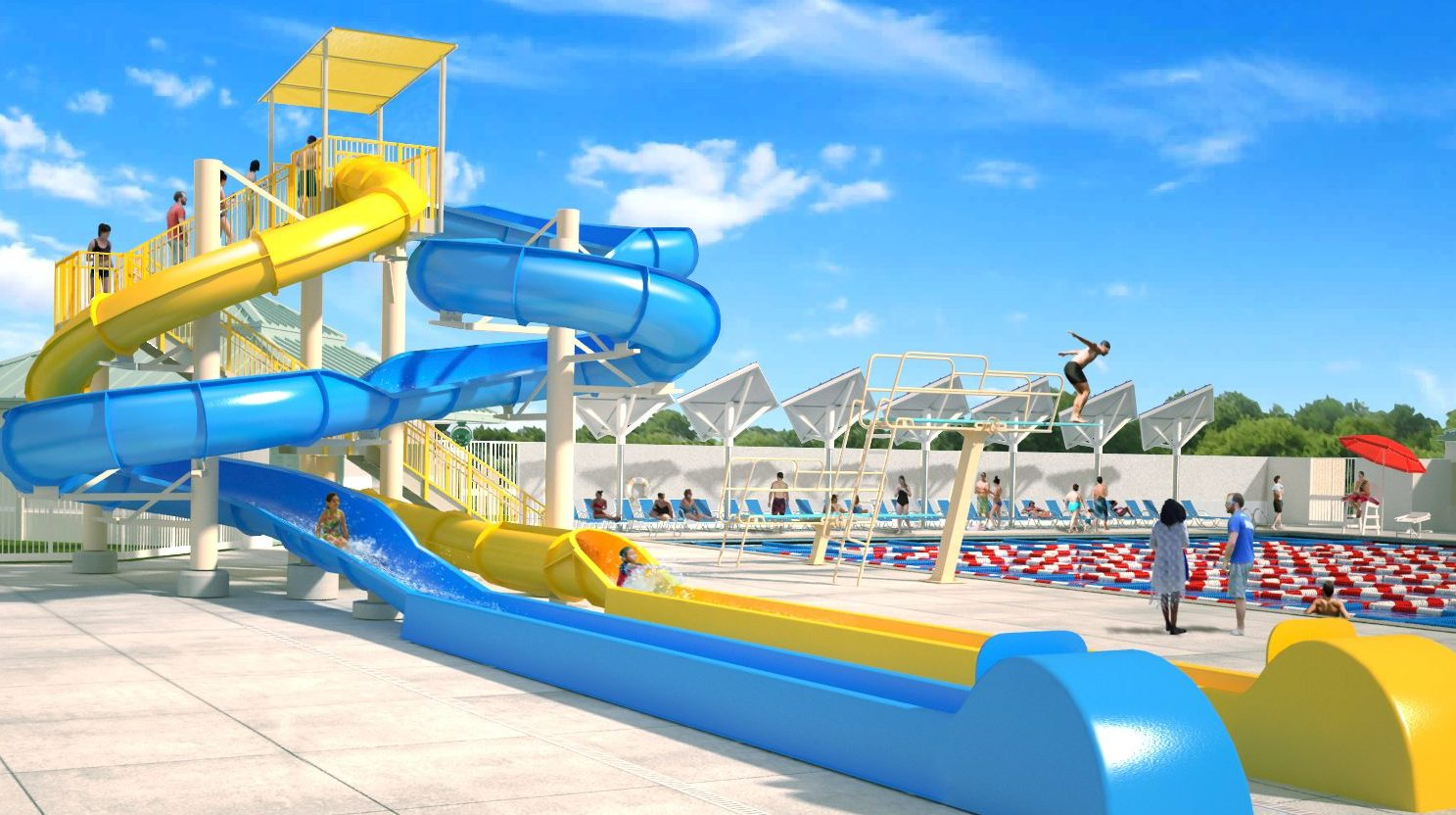 Eagle Lakes Aquatic Facility yellow and blue slide tower