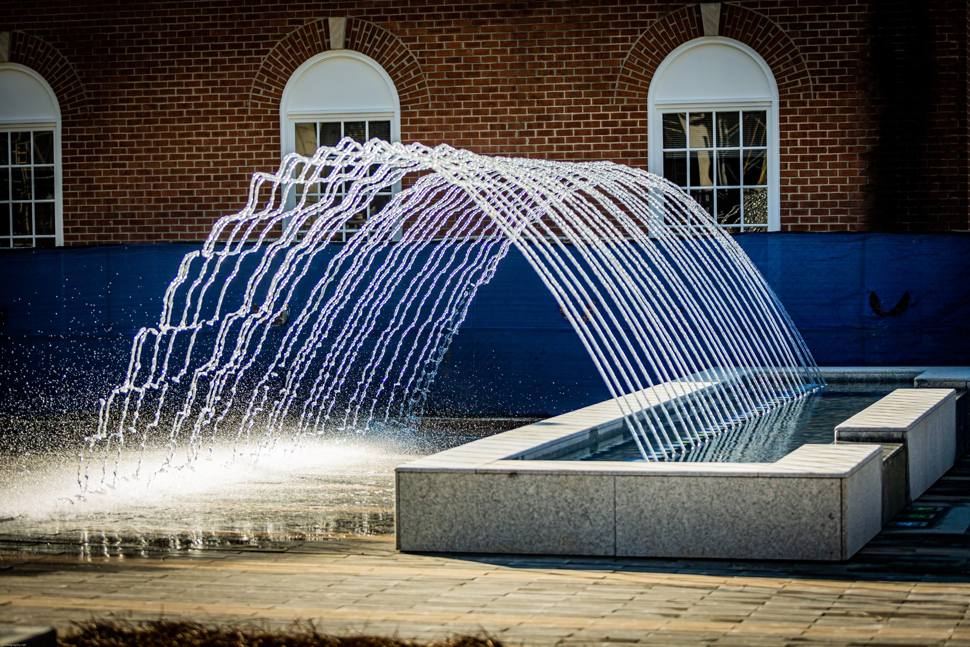 Kannapolis Downtown fountain creates an arc of water