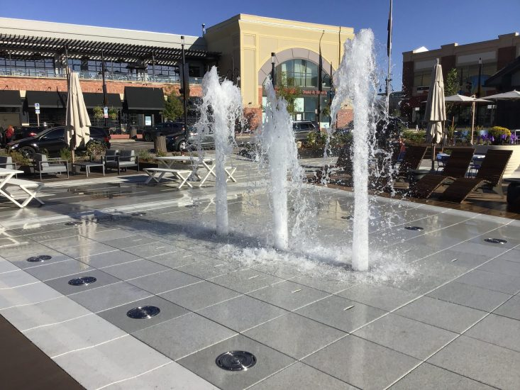 The new fountain at the Southlands in Aurora, CO