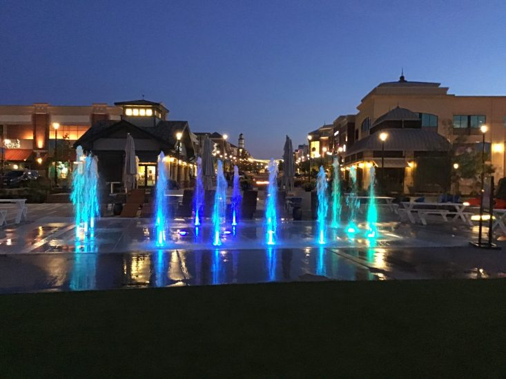 Southlands water feature with color changing LED lights