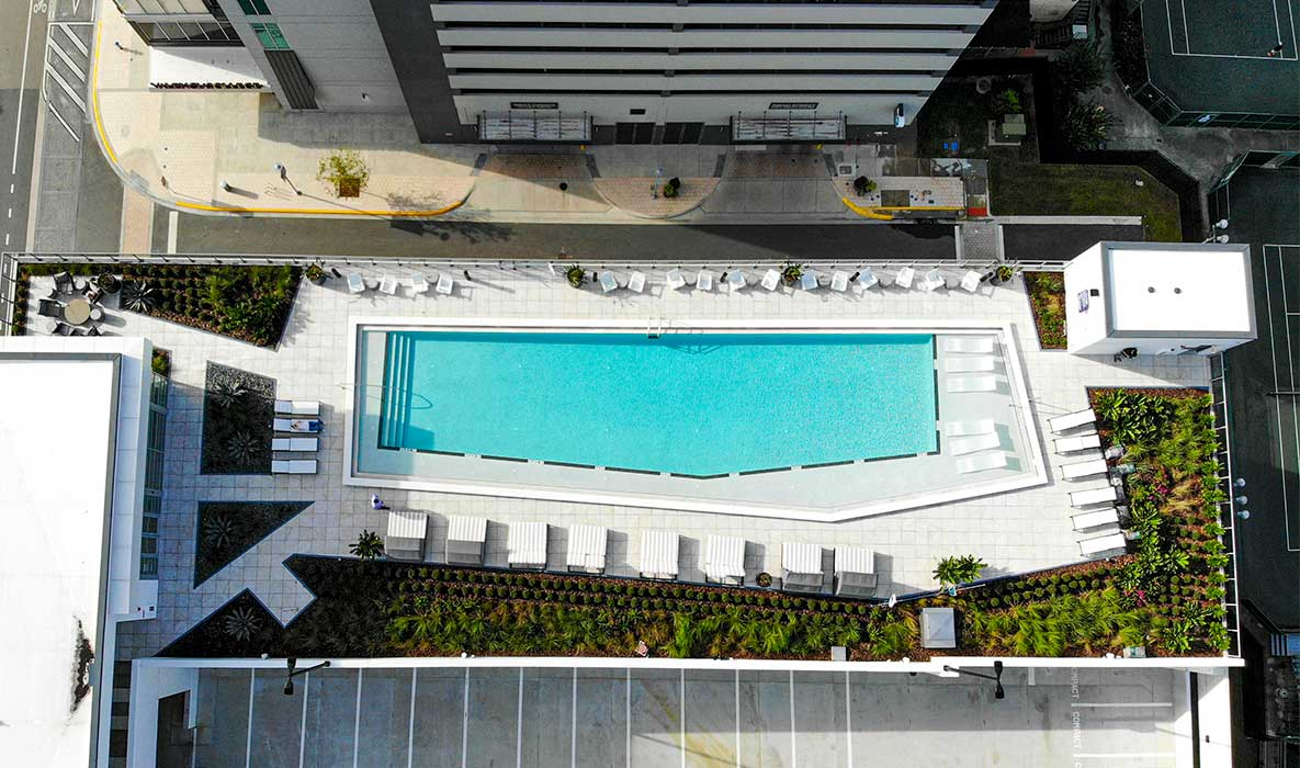Aerial view of the apartment's rooftop pool